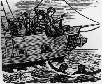Three slaves throw African slaves overboard into the ocean during the middle passage to America. --- Image by © CORBIS