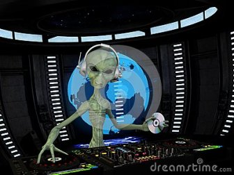 alien-dj-wearing-wireless-headphones-holding-cd-turntables-mixers-holograph-shows-approaching-34022101
