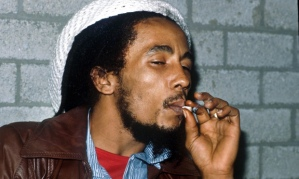Bob Marley smoking a joint