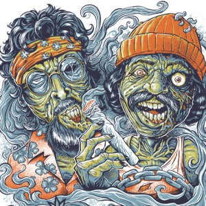 Check out this parody T-Shirt for Marijuana Zombie, featuring Cheech and Chong from Up In Smoke as zombies. Even after death these guys know how to party. Produced in two different color schemes, for a dark and light shirt. Set up for silk-screening, four colors.